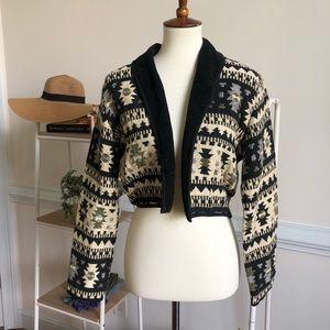 Vintage cropped Aztec textured blazer